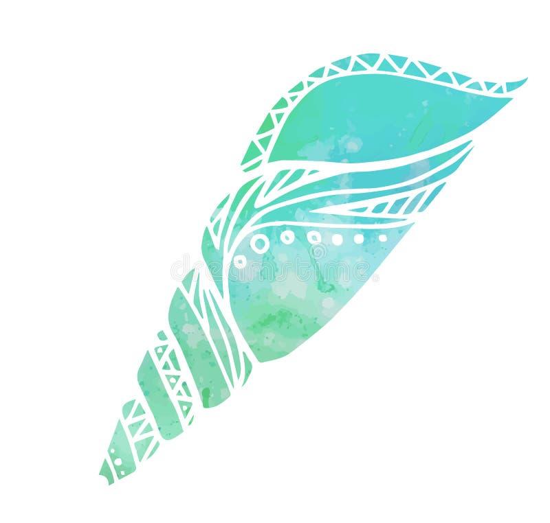 Illustrationen med klotterhavet beskjuter och vattenfärgbakgrund stock illustrationer