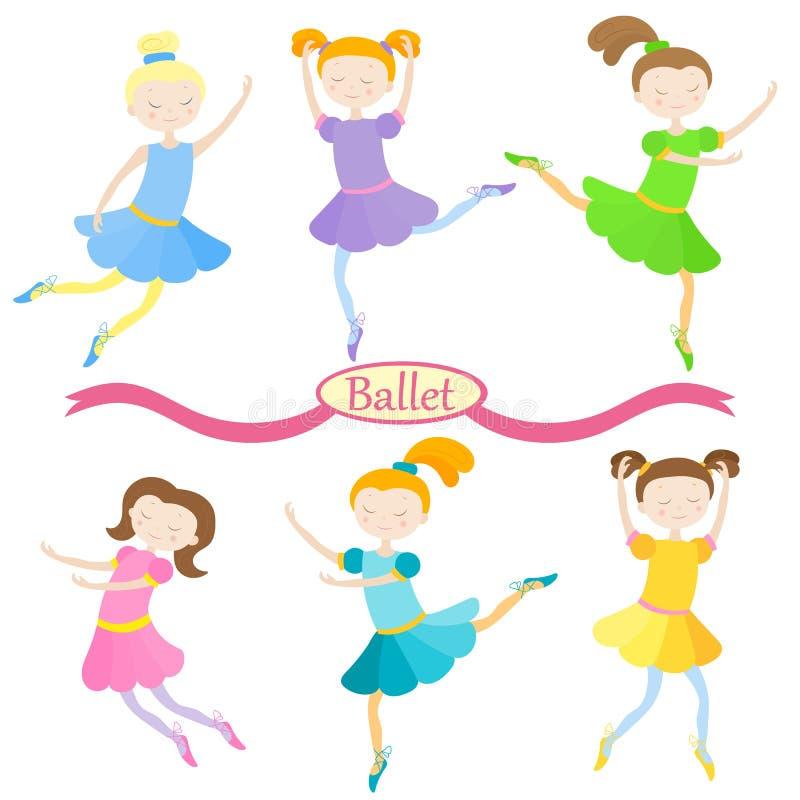 Illustrationen med uppsättningen av gulliga tecknad filmflickor av balettdansörer i olikt poserar royaltyfri illustrationer