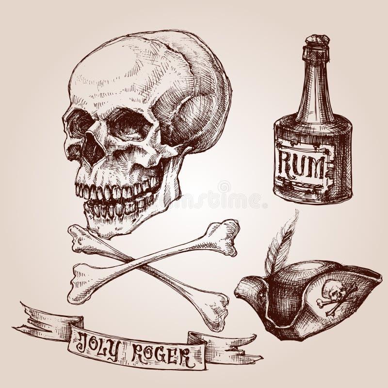 illustrationen piratkopierar den set vektorn för rastret royaltyfri illustrationer