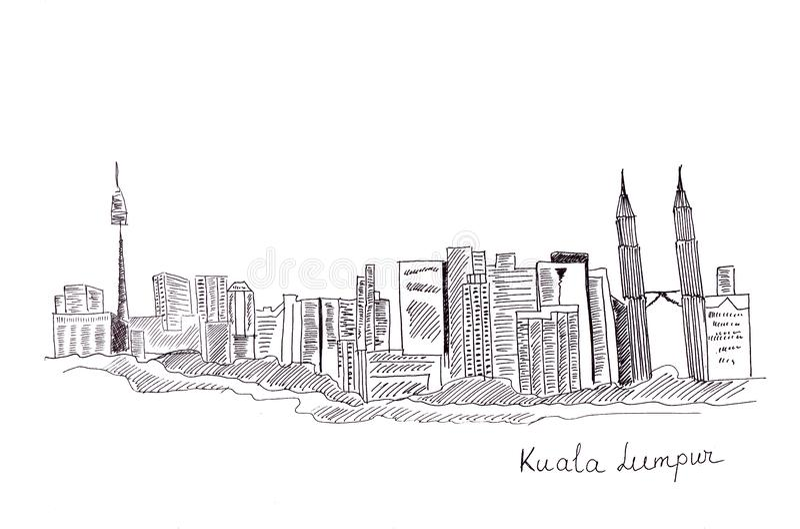 Illustrationen skissar av sikten av huvudstaden av Malaysia: huvudbyggnaderna och strukturerna vektor illustrationer