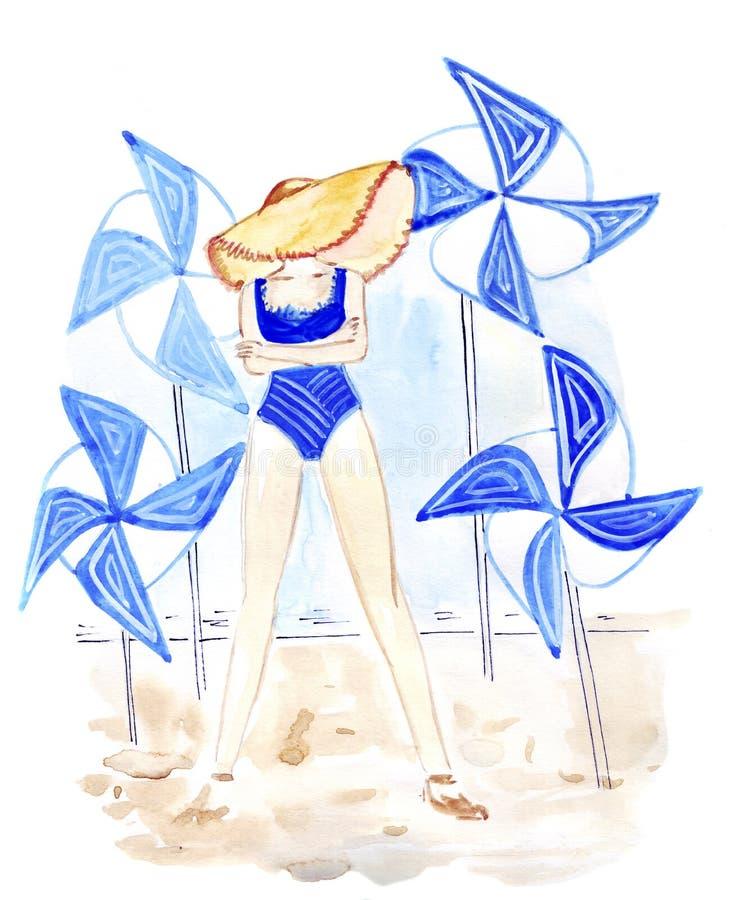 Illustrationen skissar kvinnlign i ett anseende för sugrörhatt i en baddräktstrandkläder royaltyfri illustrationer