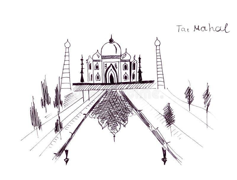 Illustrationen skissar slotten Taj Mahal- för den gränsmärkeIndien schah stock illustrationer