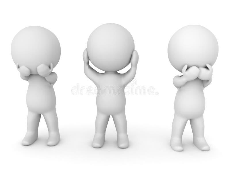 illustrationen som 3D visar se ingen ondska, hör ingen ondska, talar n royaltyfri illustrationer