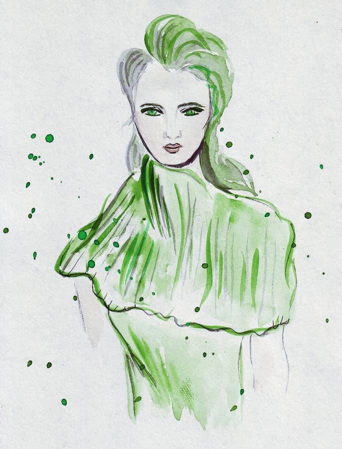 Illustrationen som skissar den uttrycksfulla modeflickaståenden, målade i vattenfärg med några färgstänk stock illustrationer