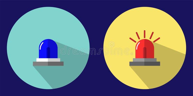 Illustrationen visar nöd- blått och en röd symbol för nöd- ljus för att varna dig av ett nödläge Kan användas för olikt massmedia royaltyfri illustrationer