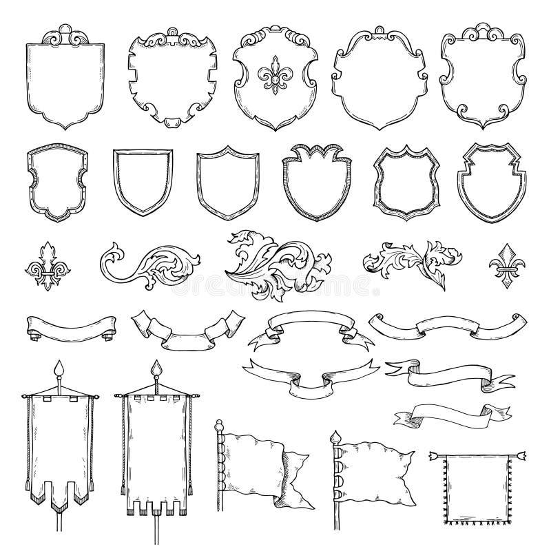 Illustrationen von bewaffneten mittelalterlichen Weinleseschildern Heraldische Rahmen und Bänder des Vektors lizenzfreie abbildung