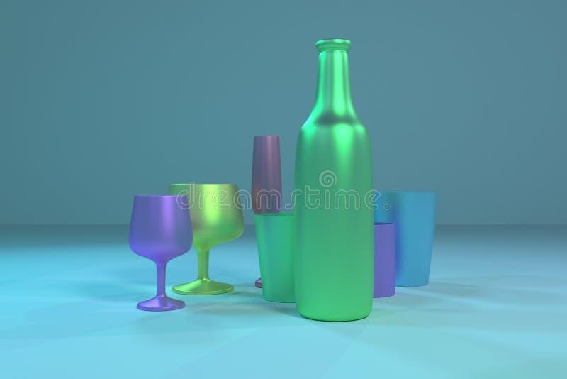 Illustrationen von cgi-Zusammensetzung, von concepture Stillleben, von Flasche u. von Glas f?r Grafikdesign oder Tapeten Bunte 3D stock abbildung