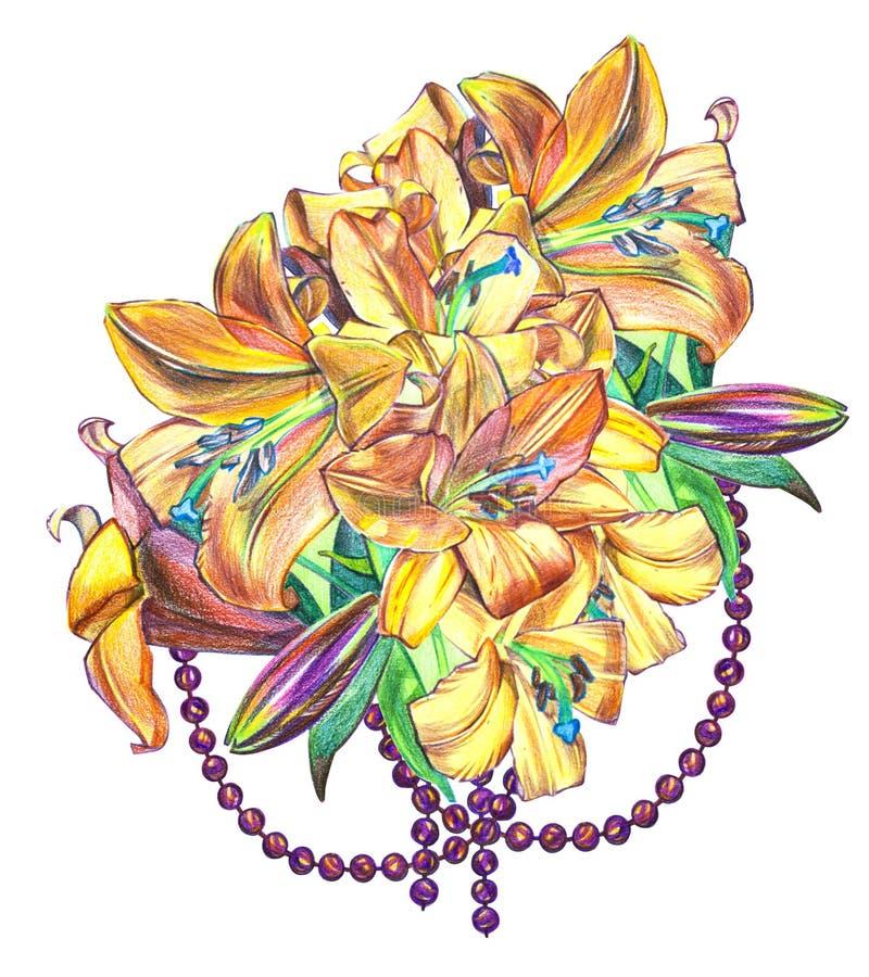 Illustrationen von Lilienblumen Vervollkommnen Sie für Grußkarte oder -einladung lizenzfreie abbildung