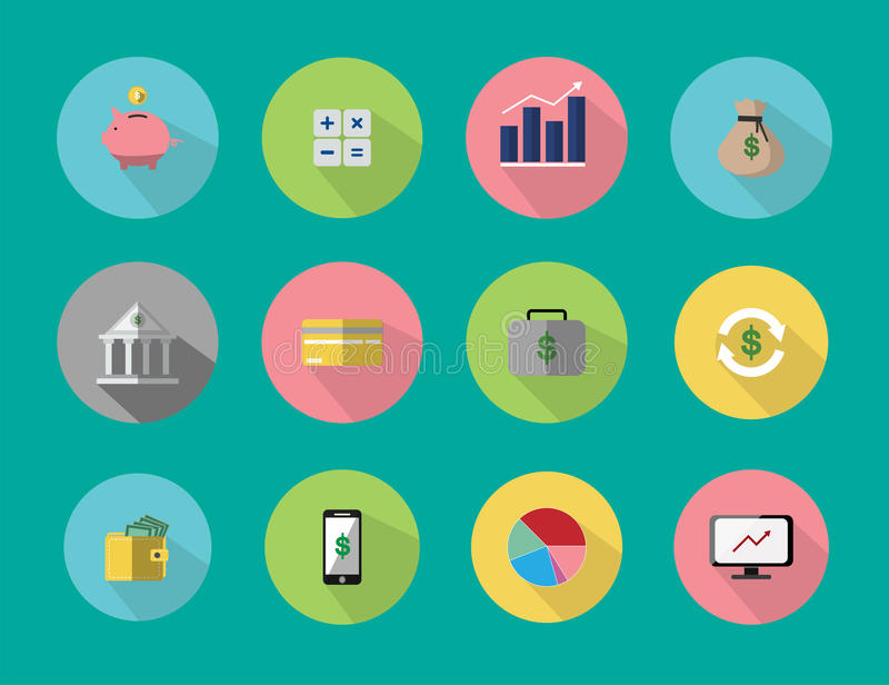 Illustrationer är symboler eller symboler Om finansiell affär kan besparingar, investering användas i olikt massmedia stock illustrationer
