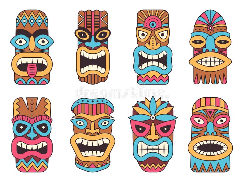 Illustrationer av den hawaianska tikiguden stam- totem stock illustrationer
