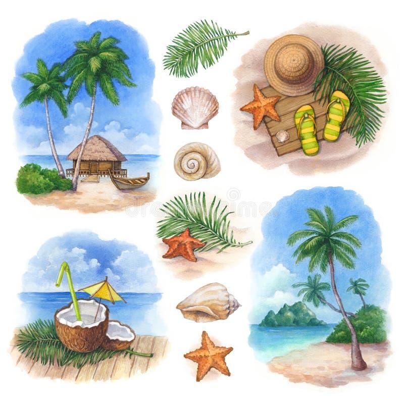 Illustrationer av ett tropiskt paradis royaltyfri illustrationer