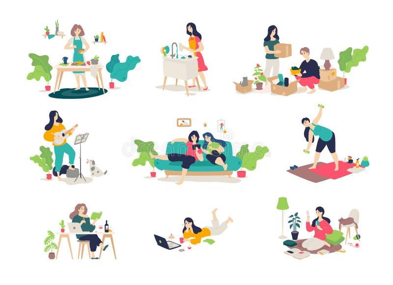 Illustrationer av flickor och pojkar som kopplas in i hushållsysslor vektor Ungdomarkopplar av, spelar gitarren, kock, sitter på vektor illustrationer