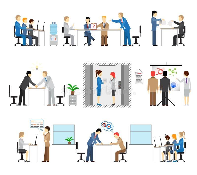 Illustrationer av folk som arbetar i ett kontor stock illustrationer