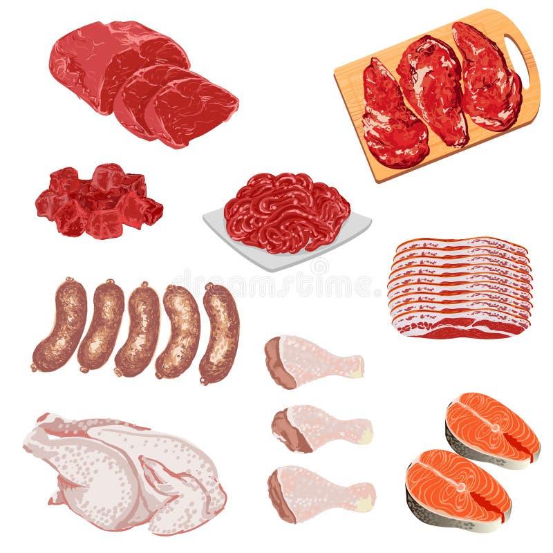 Illustrationer av köttprodukter royaltyfri illustrationer