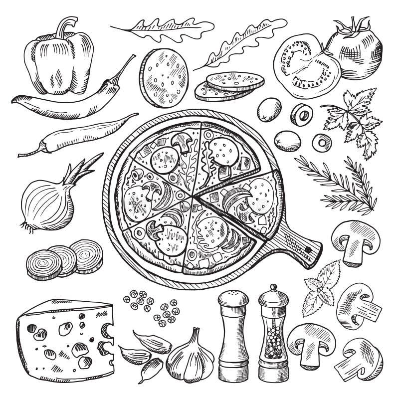 Illustrationer av klassisk italiensk kokkonst Pizza och olika ingredienser Snabbmatbilduppsättning royaltyfri illustrationer