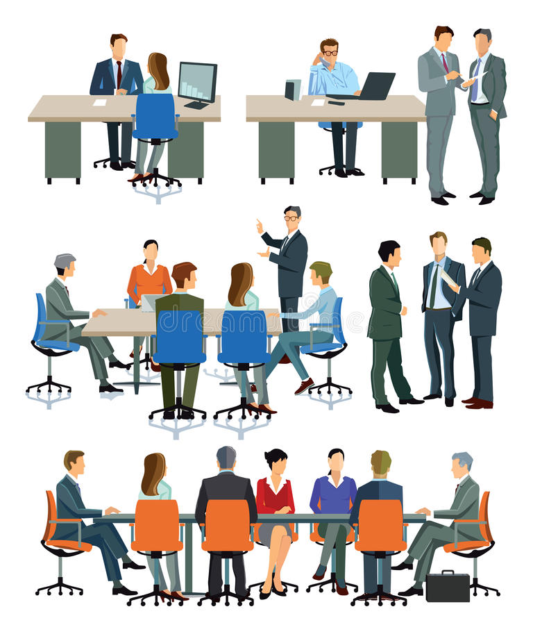 Illustrationer av kontorsmöten och presentationer vektor illustrationer