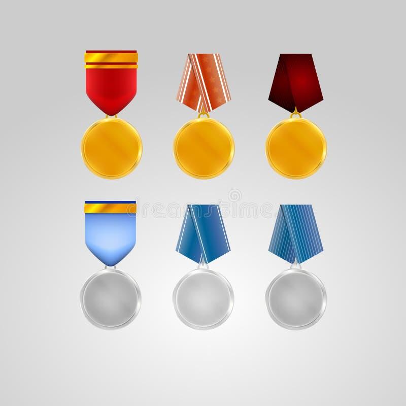 Illustrationer av medaljer vektor illustrationer