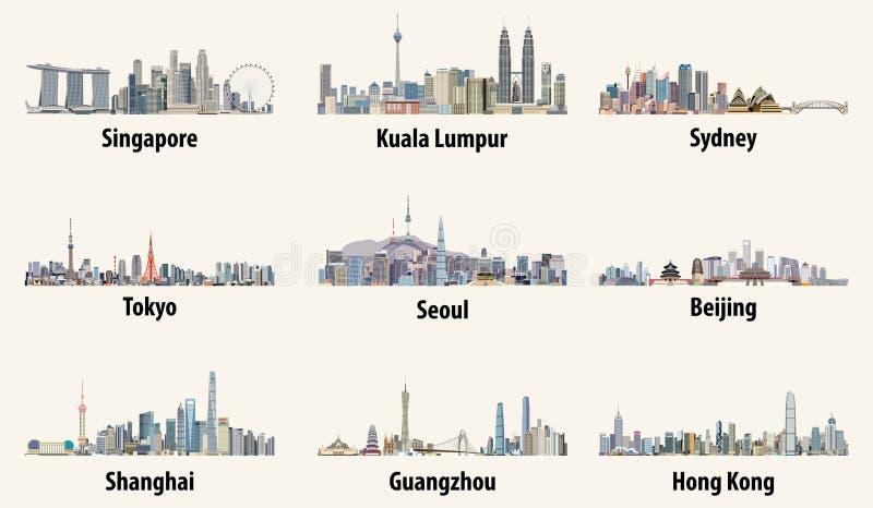 Illustrationer av Singapore, Kuala Lumpur, Sydney, Tokyo, Seoul, Peking-, Shanghai, Guangzhou och Hong Kong horisonter vektor illustrationer
