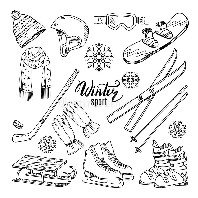 Illustrationer av vintersporten Halsduken handskar, skidar och andra royaltyfri illustrationer