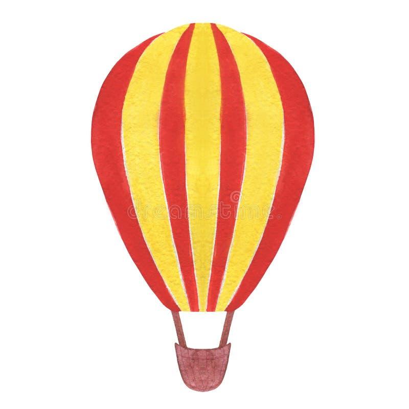 Illustrationer för ballong för varm luft för vattenfärg som isoleras på vit bakgrund arkivfoton