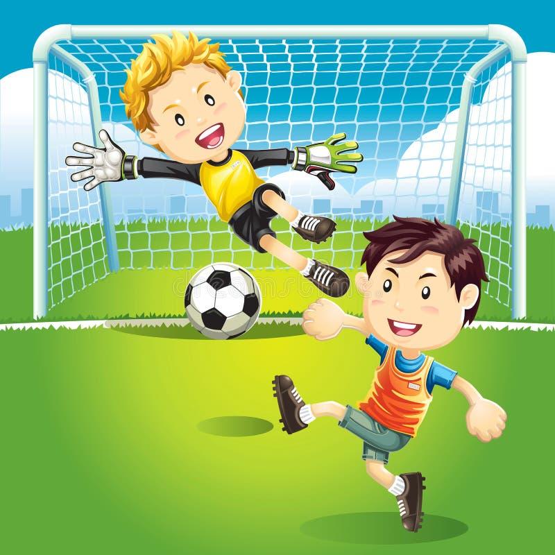 Illustrationer för barnfotbollmål. vektor illustrationer