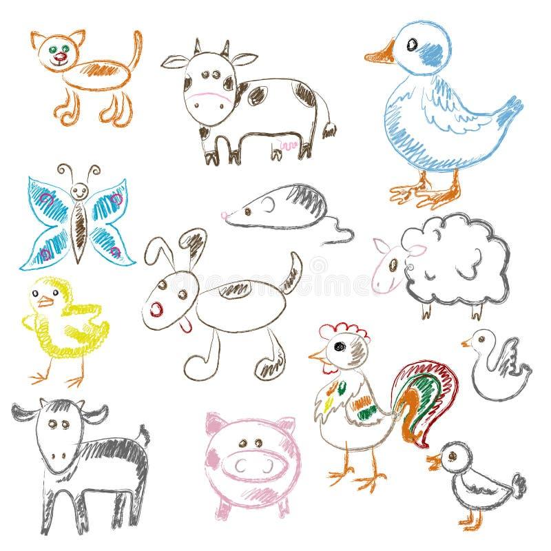 illustrationer för djurbarndraw mer min portfo royaltyfri fotografi