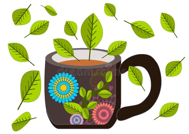 Illustrationer för en stil för kopp te retro klassiska royaltyfri illustrationer