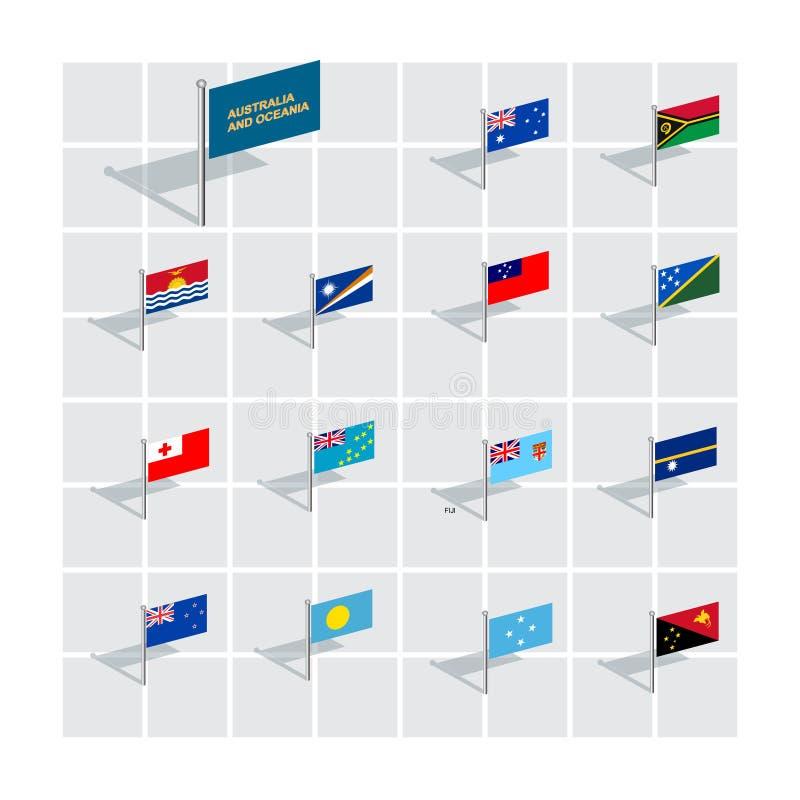 illustrationer för flagga 3D Australien och Oceanien royaltyfri illustrationer