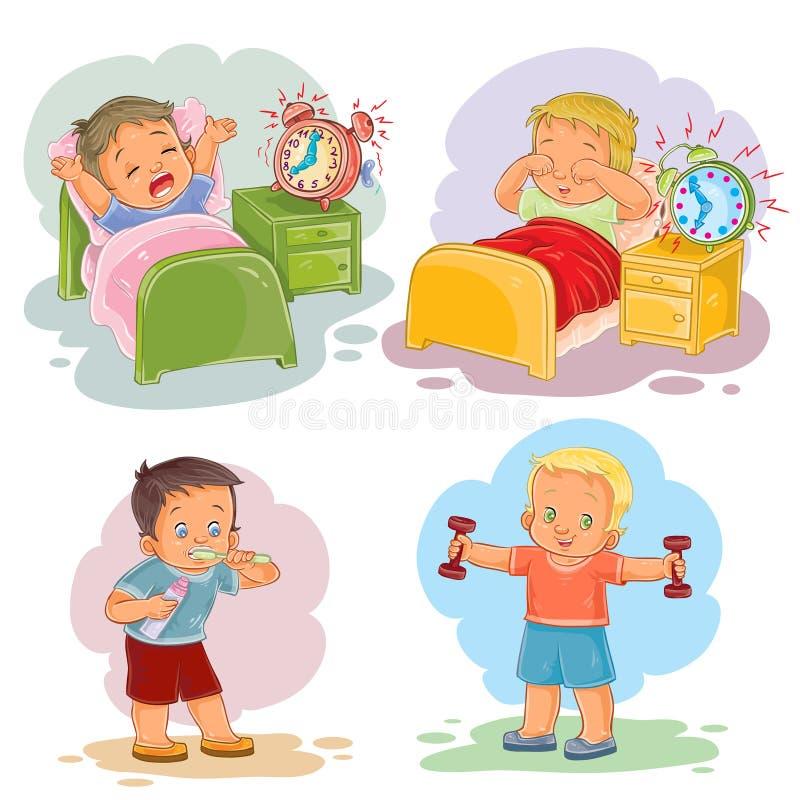Illustrationer för gemkonst av små barn vaknar upp i morgonen vektor illustrationer