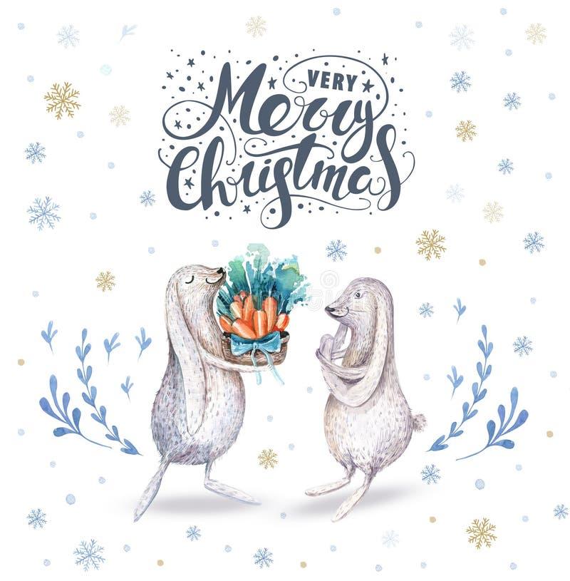 Illustrationer för jul för vattenfärg hand drog gulliga vektor illustrationer