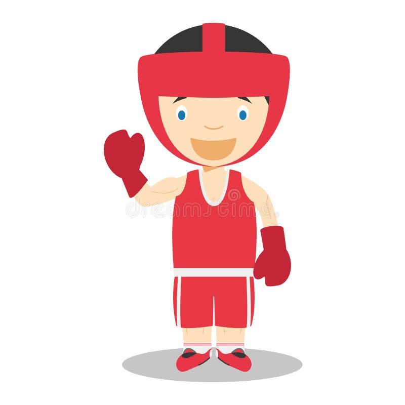 Illustrationer för sporttecknad filmvektor: Boxas royaltyfri illustrationer