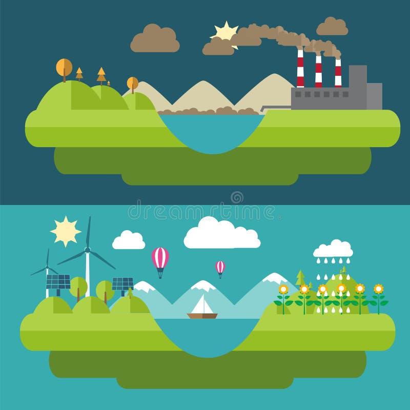 Illustrationer för uppsättninglägenhetdesign med symboler av miljön, grön energi vektor illustrationer
