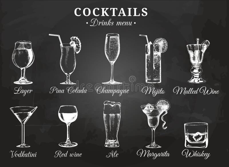 Illustrationer för vektor för coctailexponeringsglas för drinkmeny Den drog handen skissar uppsättningen av alkoholdrycköl, mojit royaltyfri illustrationer