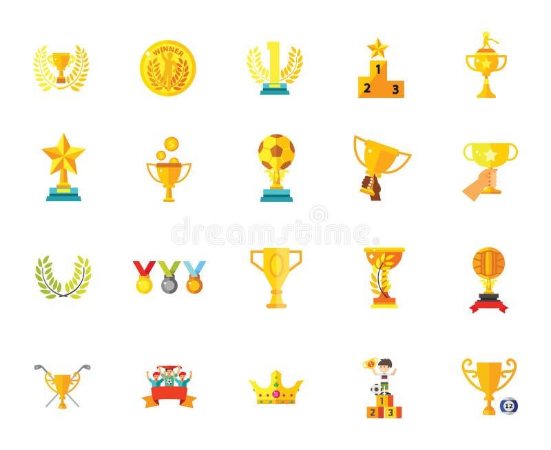 Illustrationer för vektor för uppsättning för symbol för mästare för framgång för vinnare för stjärna för emblem för troféutmärke royaltyfri illustrationer