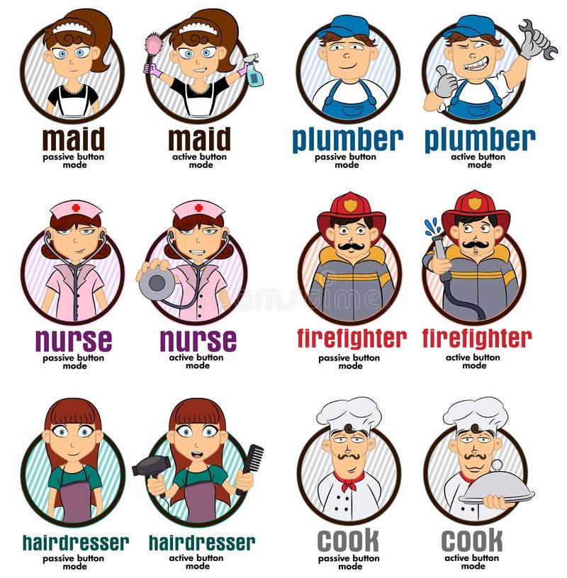 Illustrationer för yrkerengöringsdukknappar med 2 funktionslägen: hembiträde rörmokare, sjuksköterska, brandman, frisör, kock ock royaltyfri illustrationer