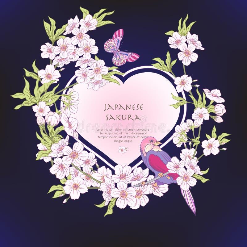 Illustrationer med den japanska blomningen rosa sakura och fåglar royaltyfri illustrationer