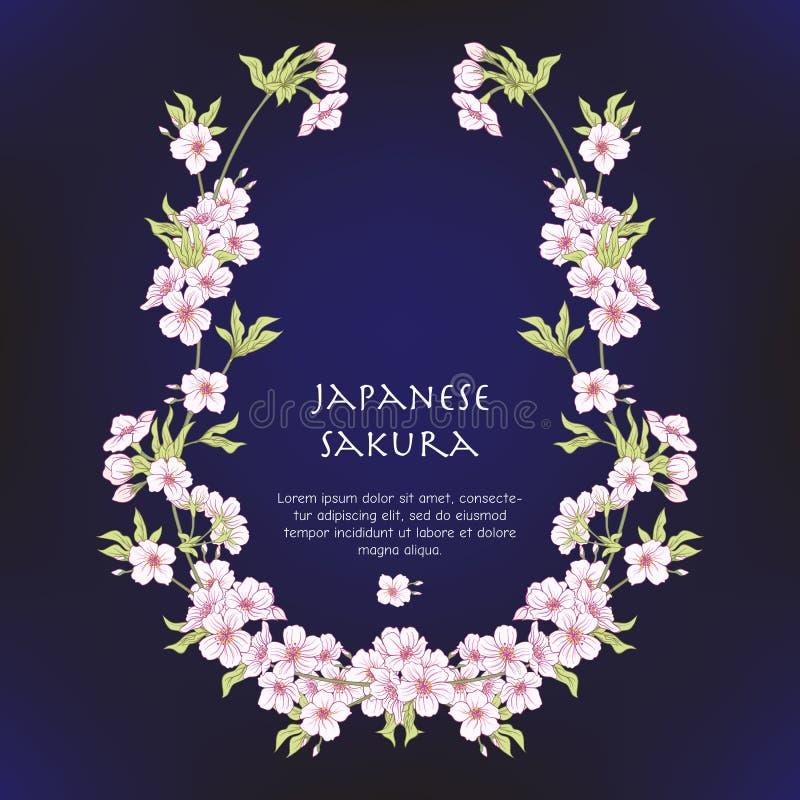 Illustrationer med den japanska blomningen rosa sakura och med ställe f stock illustrationer