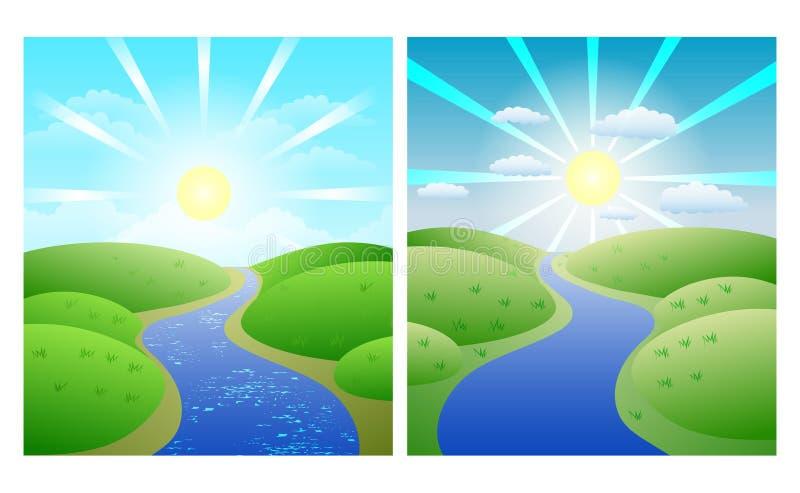 Illustrationer med enkla sommarlandskap för uppsättning, slingrig flod mot gräsplankuster och solig himmel royaltyfri illustrationer