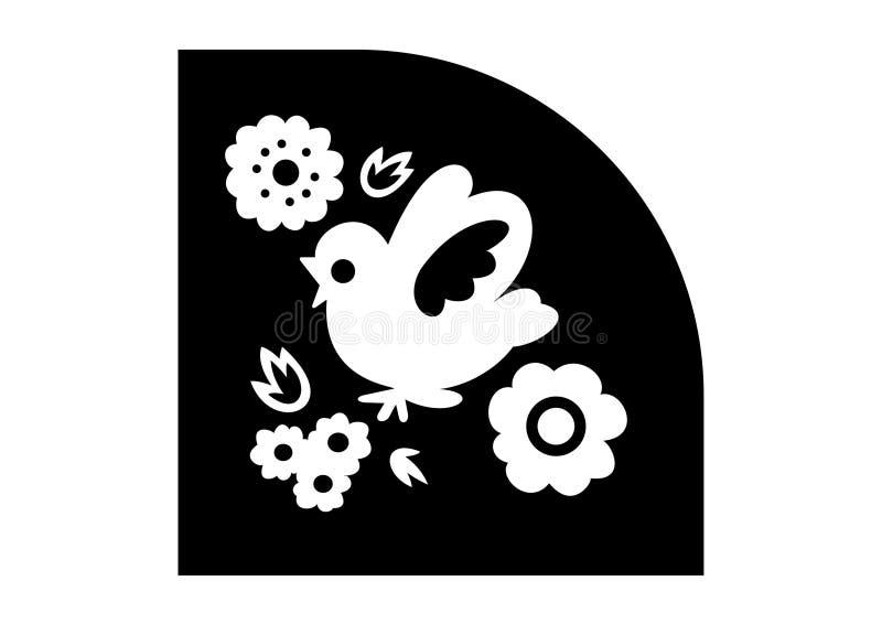 Illustrationfågeln blommar logo fotografering för bildbyråer