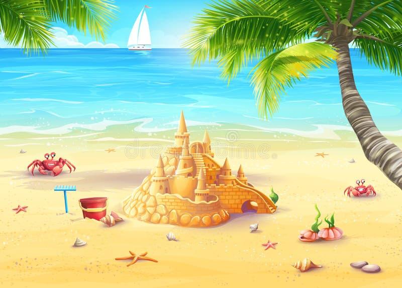 Illustrationferie vid havet med sandslotten och glade champinjoner stock illustrationer