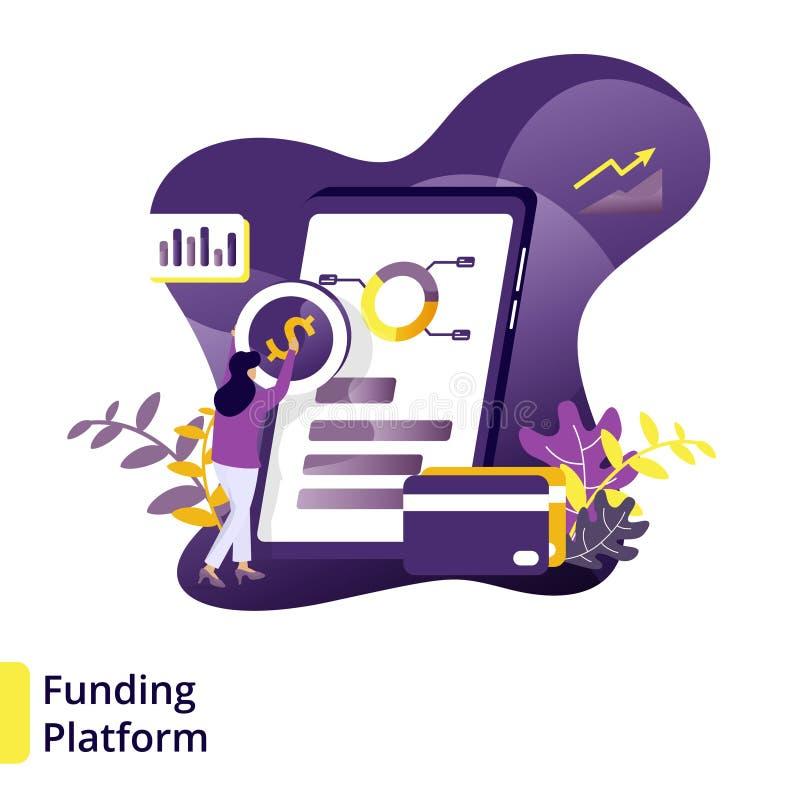 Illustrationfinansieringplattform vektor illustrationer
