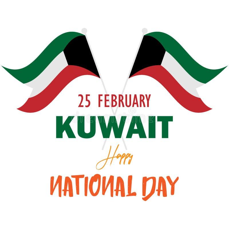 Illustrationflaggafebruari Kuwait lycklig nationell dag vektor illustrationer