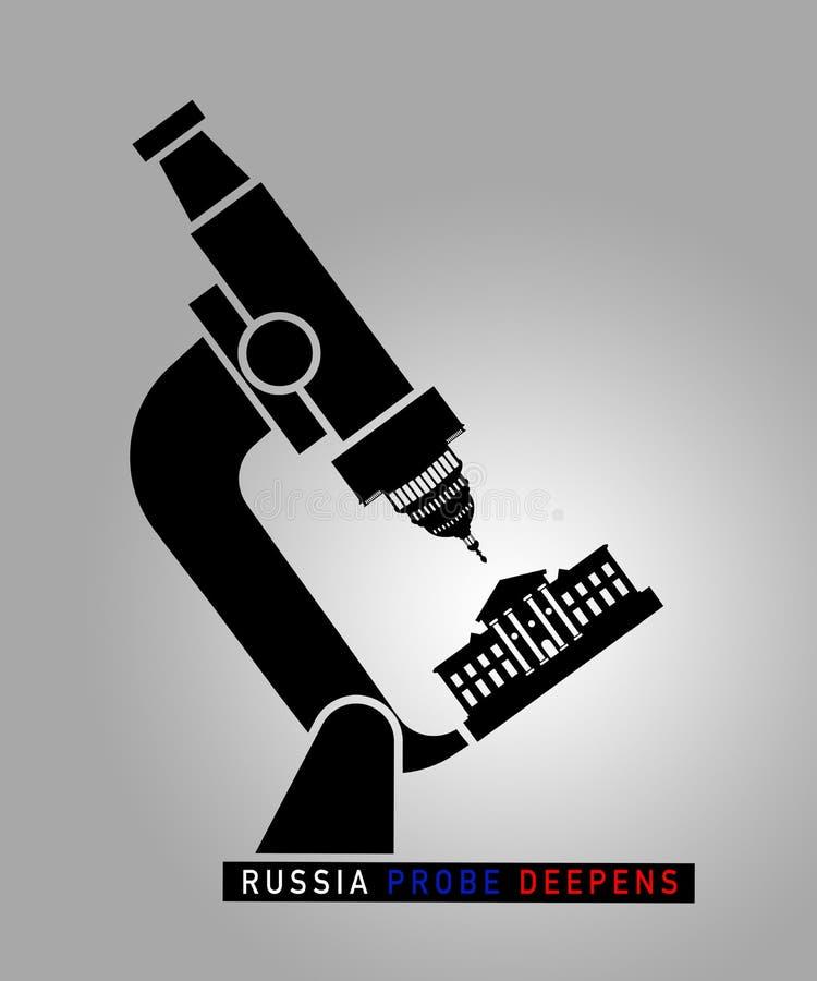 Illustrationidé för Ryssland utredning som fördjupar i Förenta staterna stock illustrationer