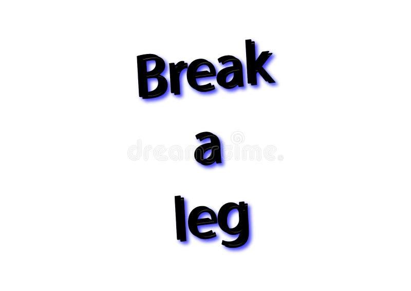 Illustrationidiomet skriver avbrottet ett isolerat ben i en vit backgro arkivbild