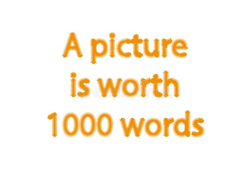 Illustrationidiomet skriver en isolerad bild är värde 1000 ord fotografering för bildbyråer