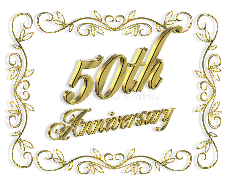 illustrationinbjudan för årsdag 3d 50th royaltyfri illustrationer