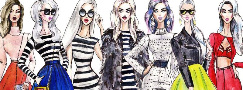 Illustrationinnegrejflickor shopping Mode konst skissar av härlig ung kvinna i klänning stock illustrationer