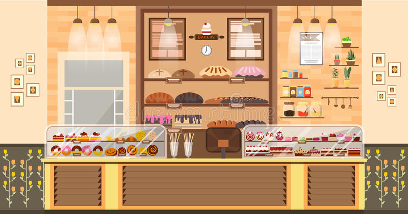 Illustrationinre av bakar shoppar, bakar försäljning, affär av stekheta försäljningar, bagerit och bakning för produktion av bage vektor illustrationer