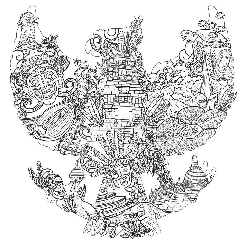 Illustrationklotter av indonesia med garudapancasilakonturn stock illustrationer