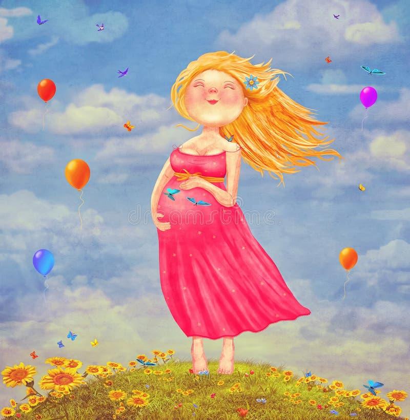 Illustrationkonst av den unga härliga gravida blonda kvinnan royaltyfri illustrationer